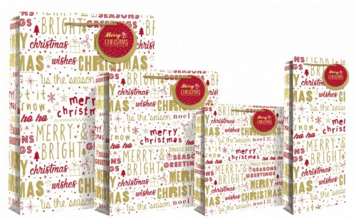 Large Red & Gold Christmas Wishes Gift Bag